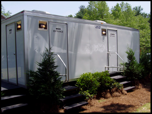 Men's and Women's large restroom trailer rental